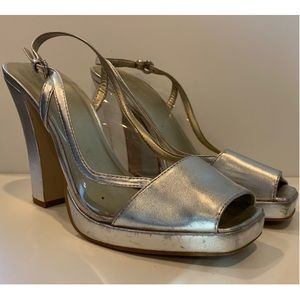 "Nine West ""Nadelle"" Silver and PVC Peep Toes"